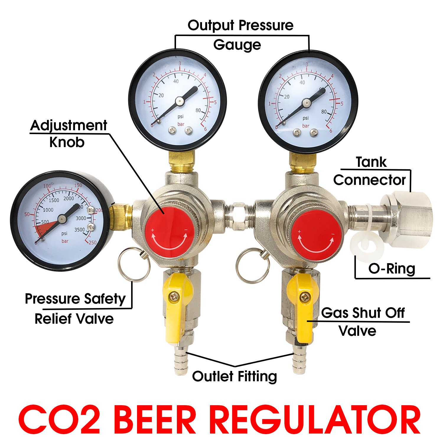 Co2 Beer Regulator Two Product Dual Pressure Kegerator Homebrew Heavy Duty Features Adjusting Knob - 0 to 80 PSI - 0 to 3500 Tank Pressure CGA-320 Inlet w/ 3/8
