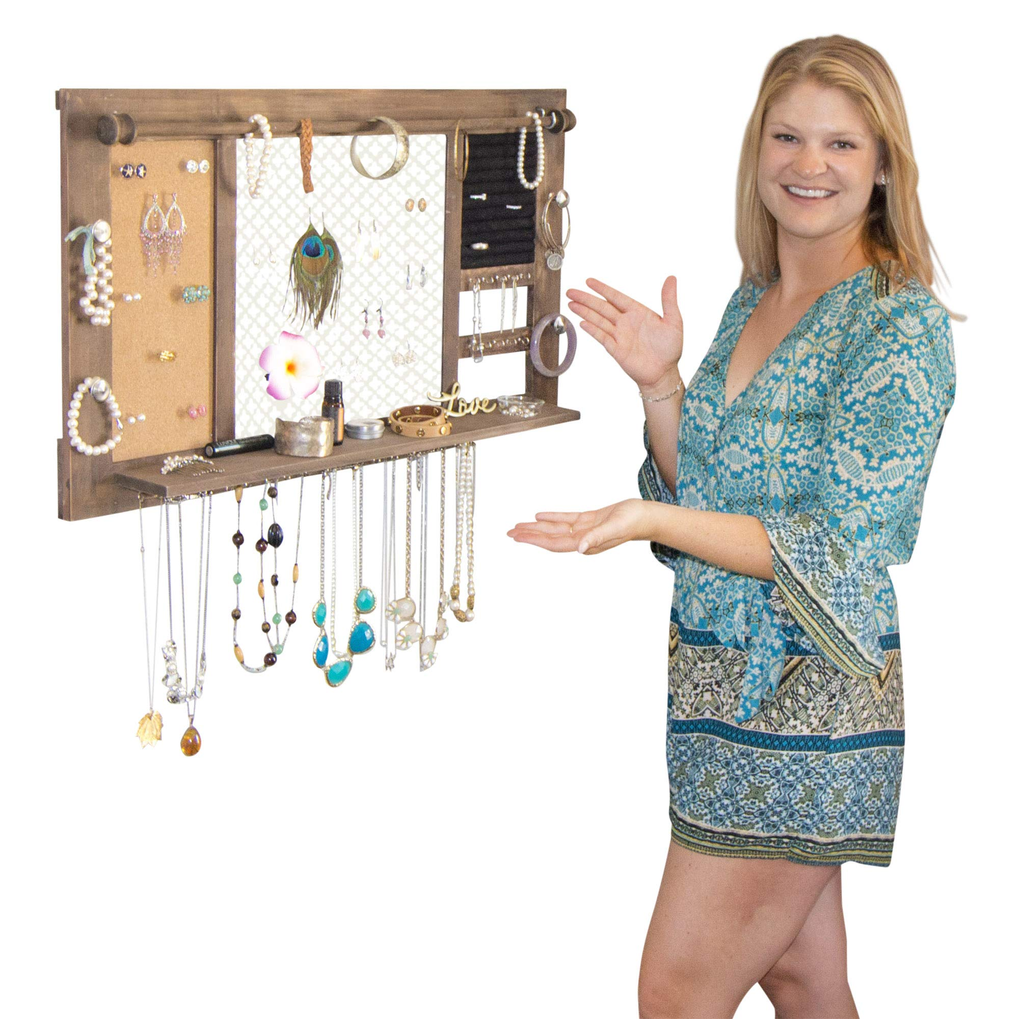 SoCal Buttercup Deluxe Rustic Wood Jewelry Organizer - from Hanging Wall Mounted Wooden Jewelry Display - Organizer for Earrings, Necklaces, Bracelets, Studs, and Accessories by SoCal Buttercup (Image #8)