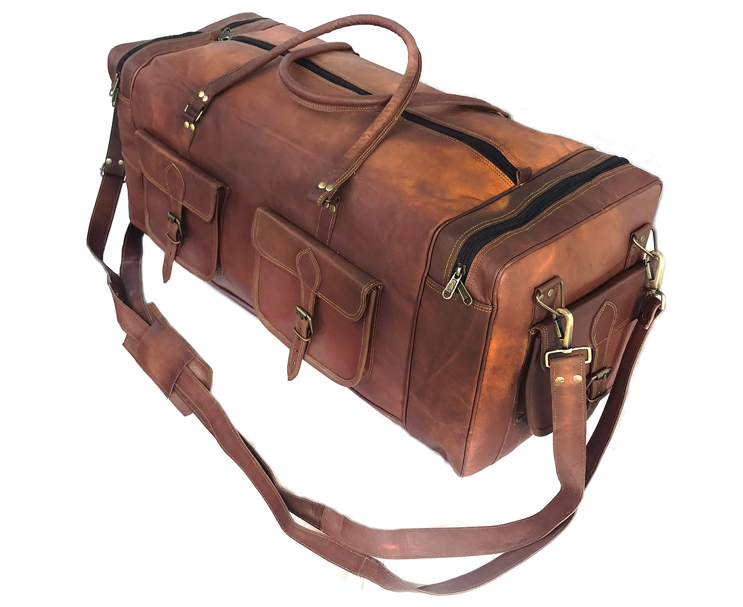 KK's 30 Inch Real Goat Leather Large Handmade Travel Luggage Bags in Square Big bag Carry On by cuero