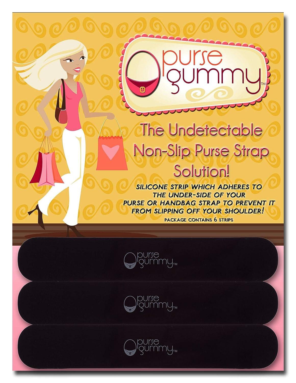 Set of 6 Pieces Purse Gummy The Original Non Slip Shoulder Bag and Purse Strap Grip Pad Accessory Black /& Semi-Clear