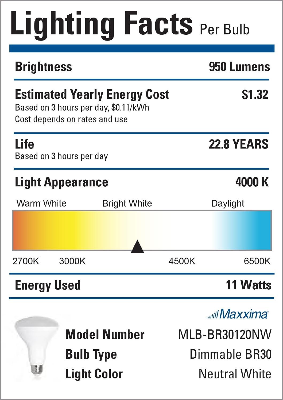 4000K Maxxima LED BR30 75 Watt Equivalent Dimmable 11 Watt LED Light Bulb Neutral White 950 Lumens Energy Star Pack of 4