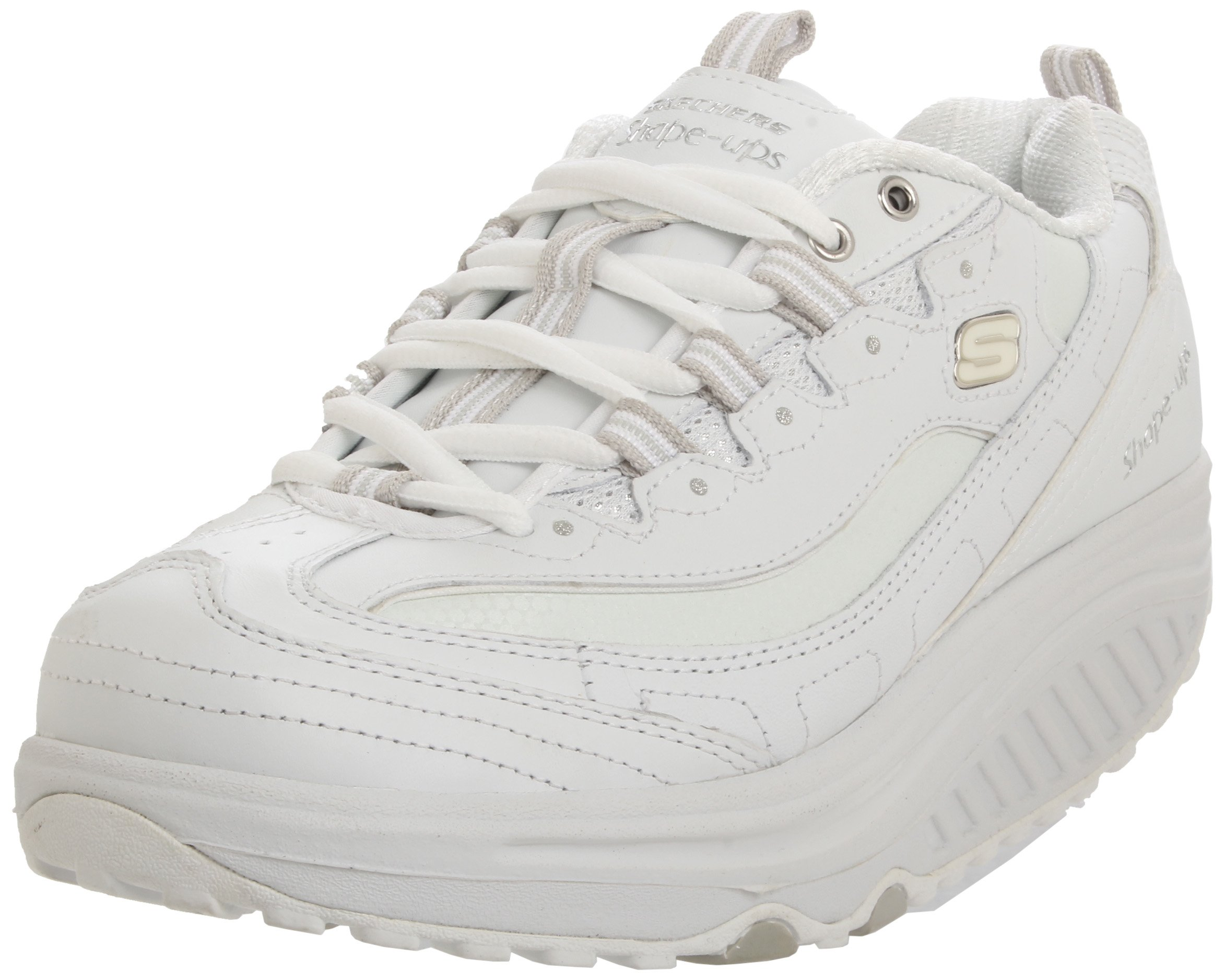 Skechers Women's Shape Ups Metabolize Fitness Work Out Sneaker,White/Silver,7.5 W US