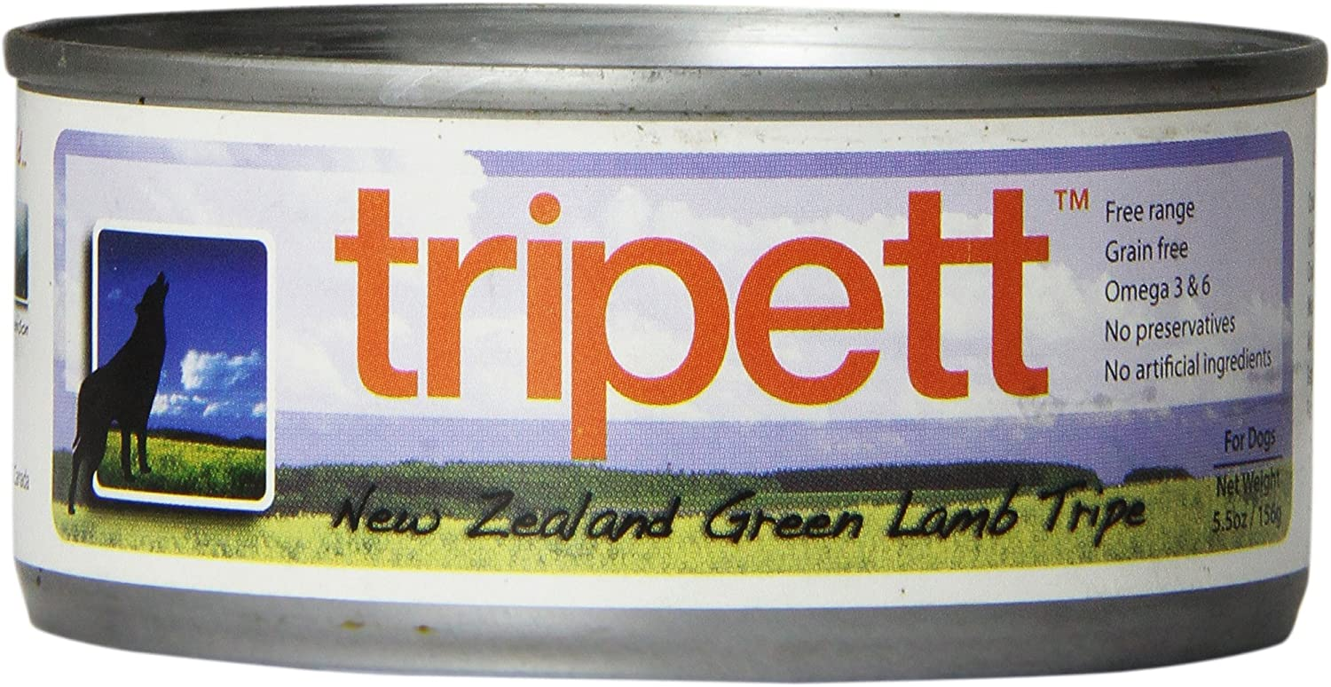 Petkind 328024 Tripett New Zealand Green Lamb Tripe For Pets, 5.5-Ounce Can, (Pack Of 24)