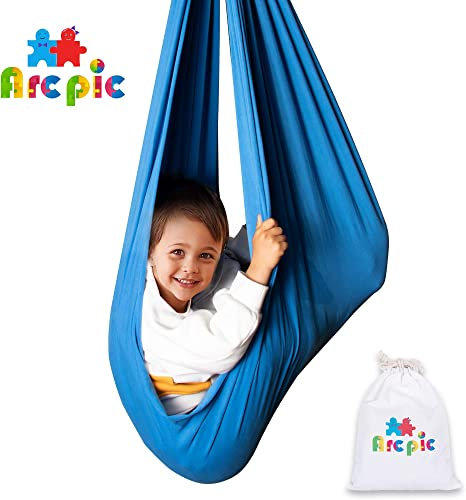 Arcpic Indoor Sensory Swing for Kids with Sensory Needs Durable Lyrca Calming Cuddle Therapy Hammock Swing Chair for Autistic Children Maximum Weight 200 Lbs 90 KG Hanging Hardware Included