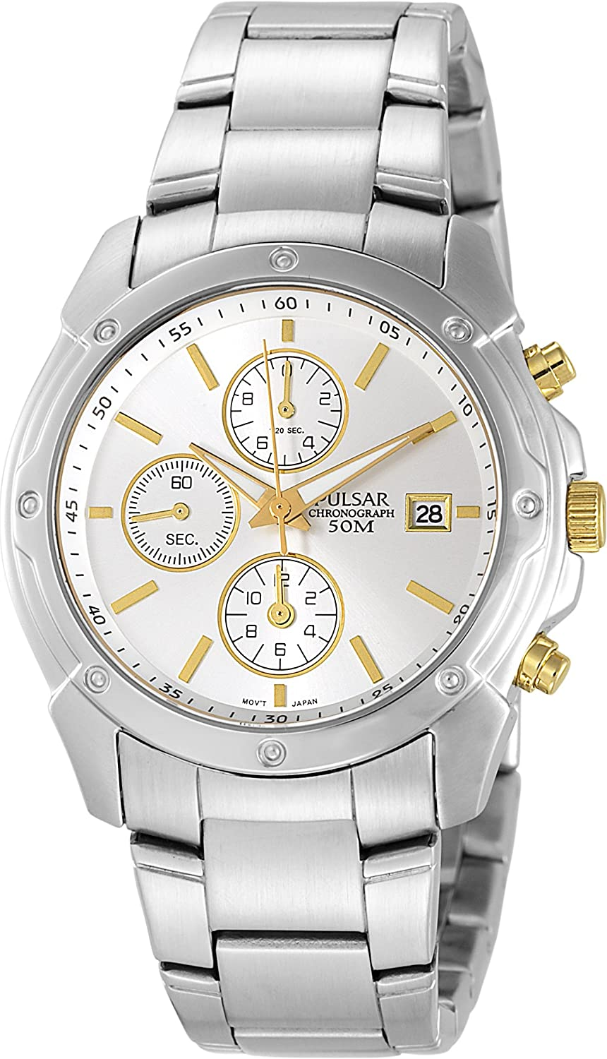 Pulsar Men s PF8337 Chronograph Silver Dial Two-Tone Stainless Steel Watch