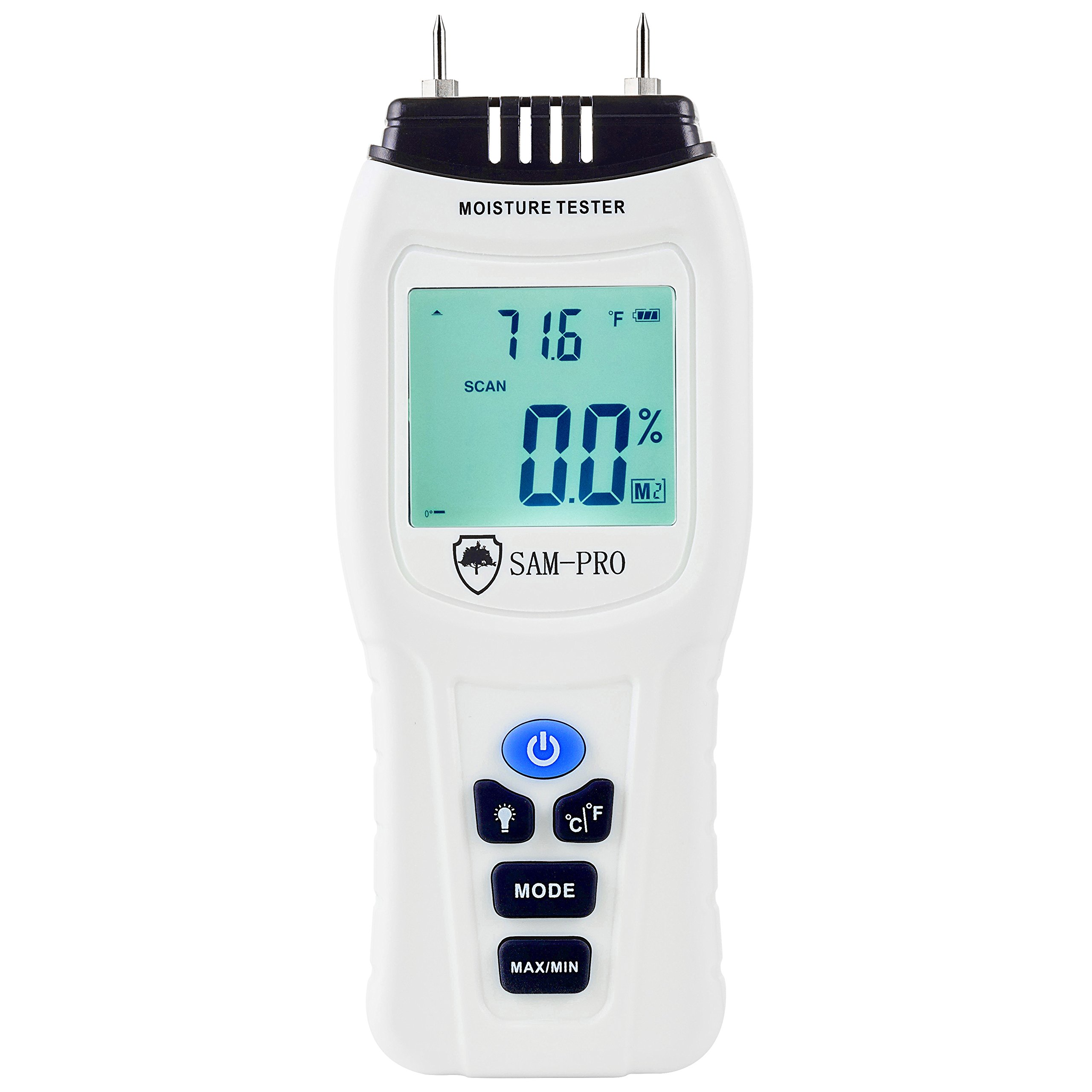 Dual Moisture Meter: LCD BACKLIT DISPLAY- Test Moisture & Temperature in Wood, Concrete, Drywall, Carpet, Floors, Walls, Ceilings. Detector Tool for Mold Risk | Firewood | Home Inspection