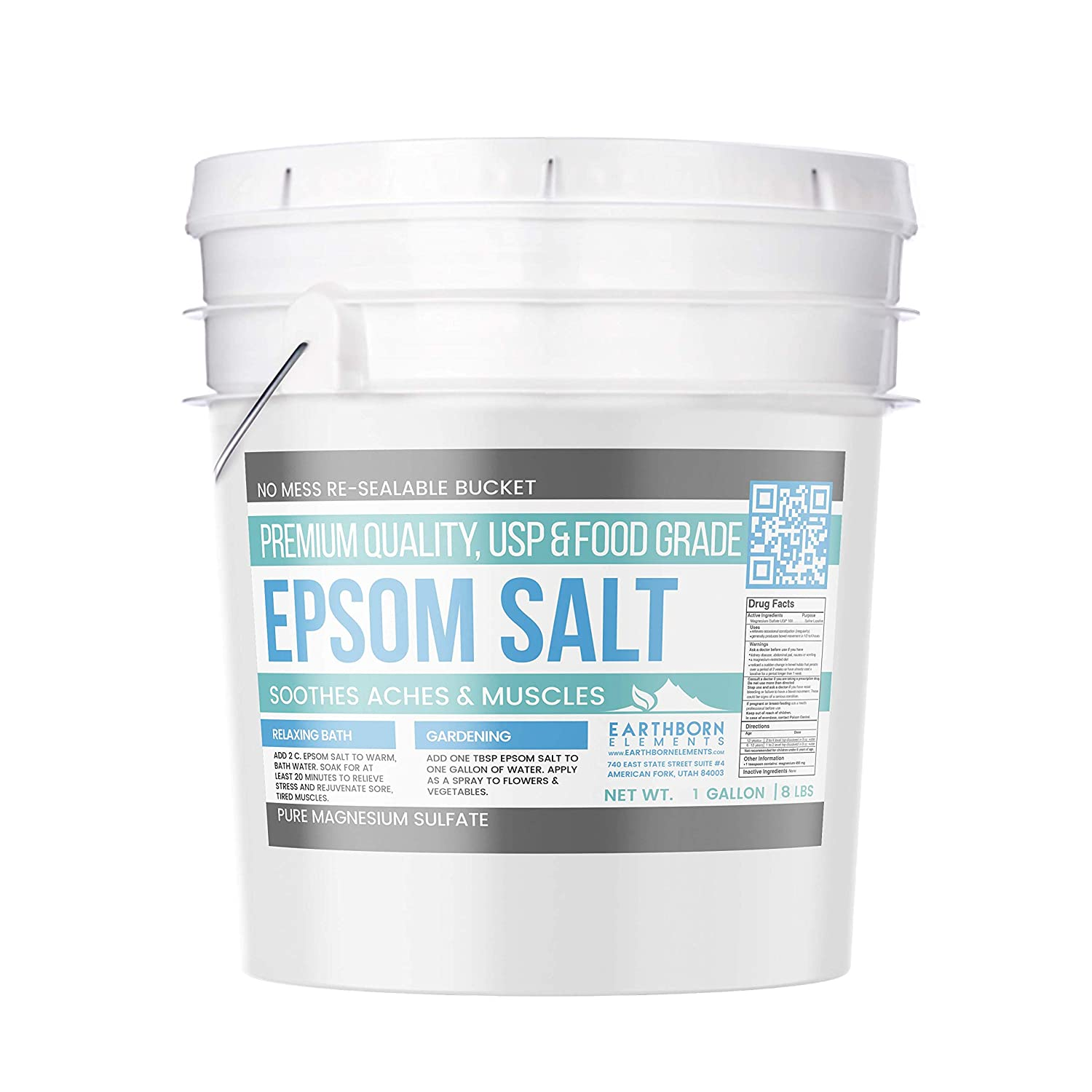 Epsom Salt, Magnesium Sulfate, Soaking Solution, All-Natural, Highest Quality & Purity, USP Grade, Resealable Bucket with Lid, Keeps Out Moisture, (1 Gallon (8 lb)(128 oz)) Earthborn Element