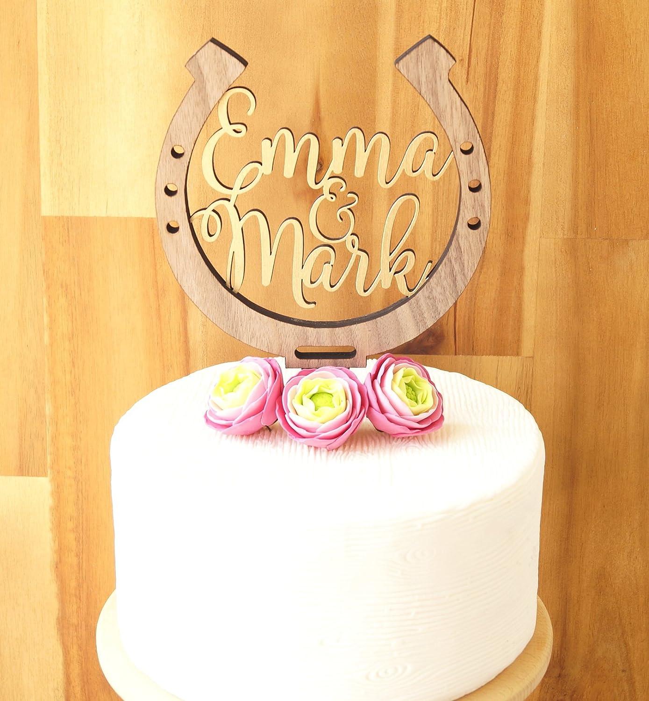 Amazon.com: Horseshoe cake topper, personalized wedding cake topper ...