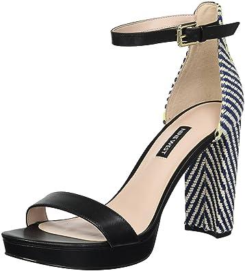 c736ff33dc Nine West Women's Dempsey Fabric Heeled Sandal, Black/Multi, ...
