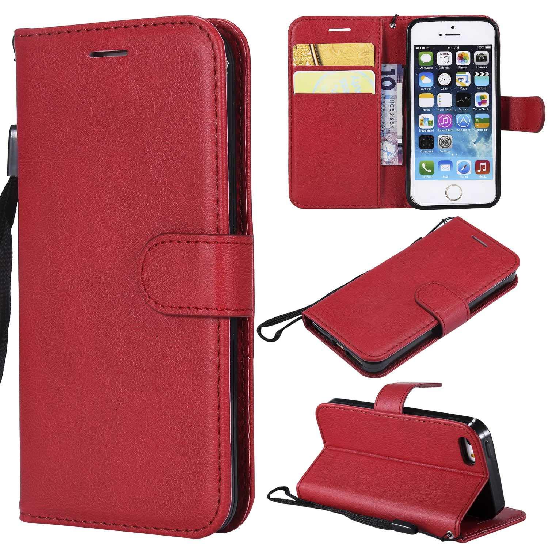Rouge Coque iPhone SE // 5 5S The Grafu/® Etui en Cuir Flip Portefeuille Housse avec Emplacements Carte Design Classique PU Stand Coque pour Apple iPhone SE//iPhone 5 5S