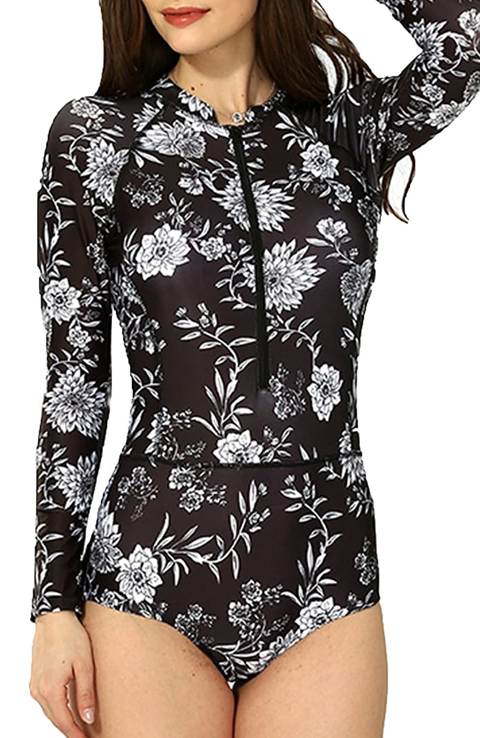 84aaf4fa0a Upopby Women's Floral Printed Long Sleeve Rash Guard Surfing Wetsuit Swimwear  One Piece Swimsuit at Amazon Women's Clothing store: