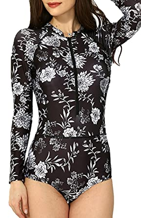 2c4fff8e9f37a Upopby Women s Floral Printed Long Sleeve Rash Guard Surfing Wetsuit Swimwear  One Piece Swimsuit Black M