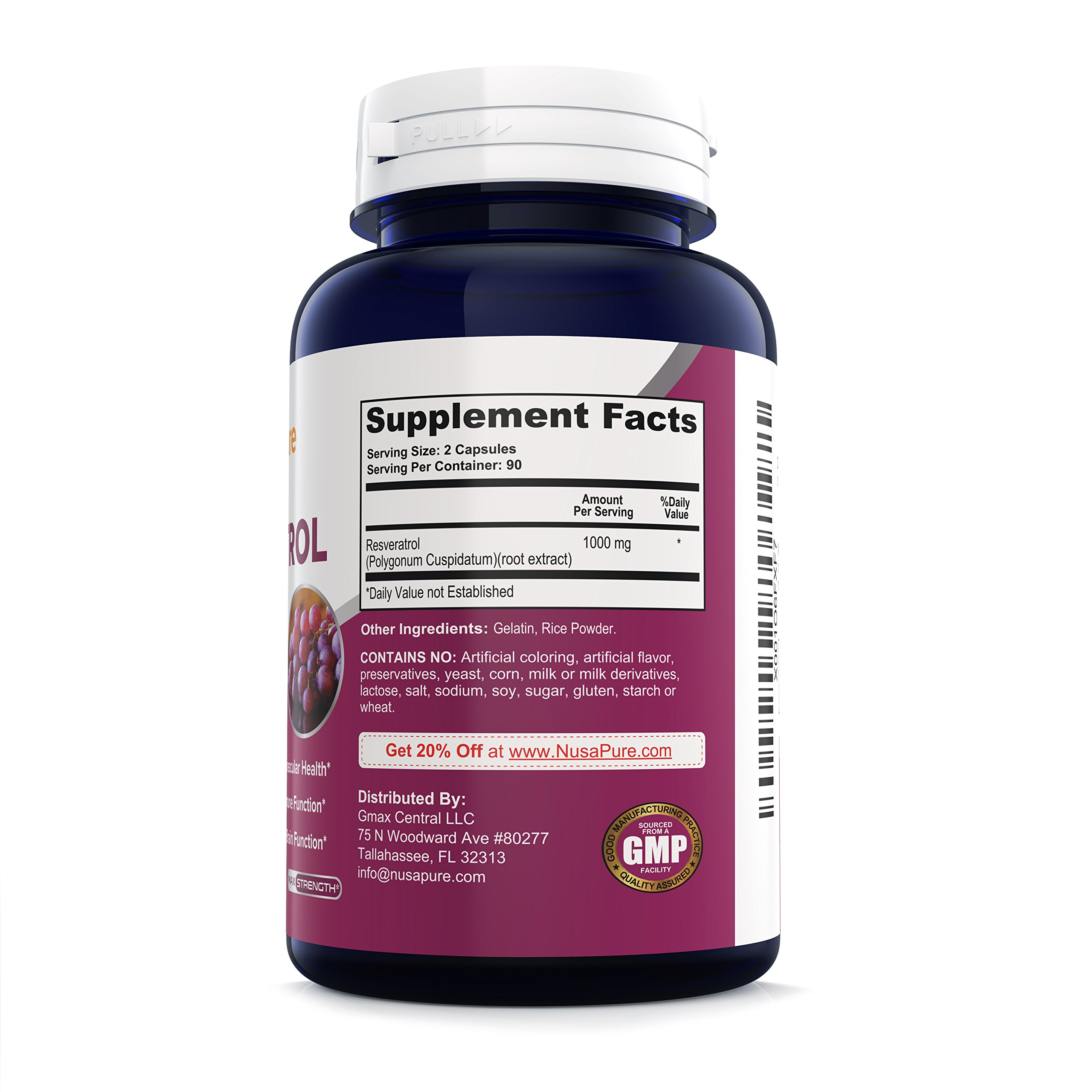 Best Resveratrol 1000mg 180caps (Non-GMO & Gluten Free) Promotes Heart Health and Balances Blood Pressure, Helps Balance Hormones - Proudly Made in USA - 100% Money Back Guarantee! by NusaPure (Image #2)