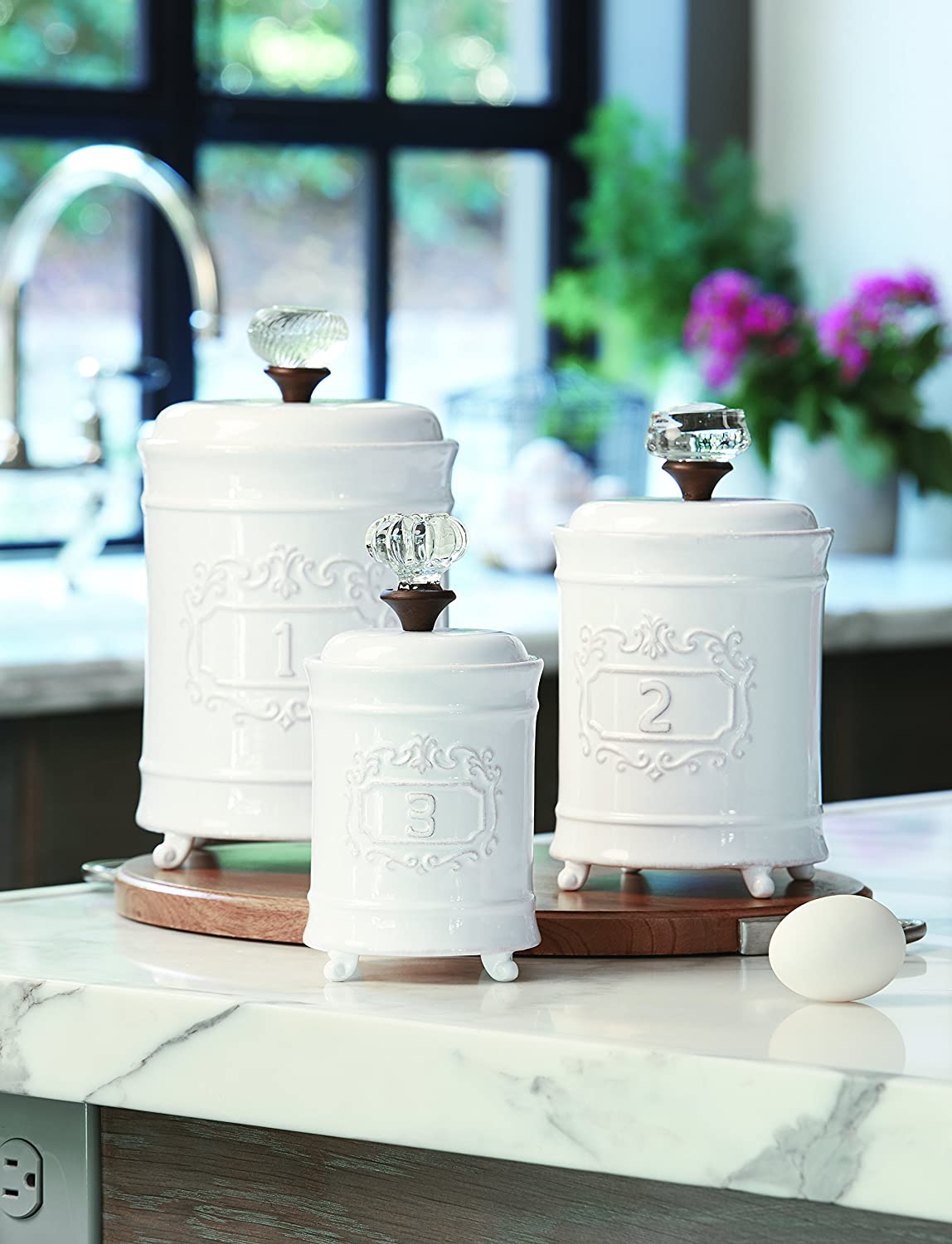 Mud Pie 4931002 Kitchen Canister (Set of 3), White