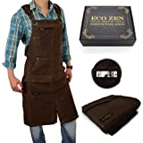 Shop Apron - 16 oz Long Waxed Canvas Work Apron with Pockets | Waterproof, Fully Adjustable to Comfortably Fit Men and…