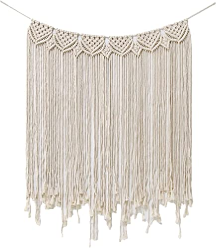 Macrame Wall Hanging Boho, Macrame Tapestry, 33.5 W x 39 L Curtain Fringe Garland Banner Bohemian Wall Decor Woven Home Christmas Decoration for Apartment Bedroom Living Room Gallery Baby Nursery