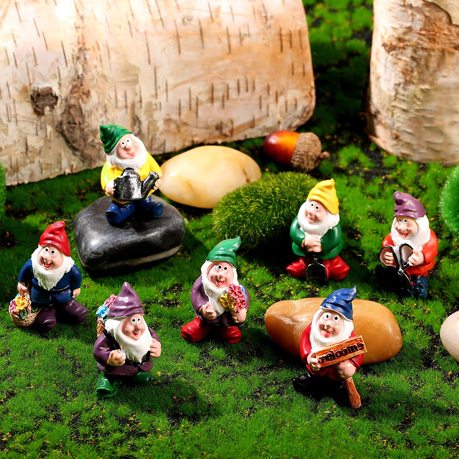 7 Pieces Gnomes Fairy Resin Statues Miniature Fairy Garden Mini Gnome Statue for Table and Garden Decoration for Holiday Festival Garden Decoration, Relatives Friends Kids