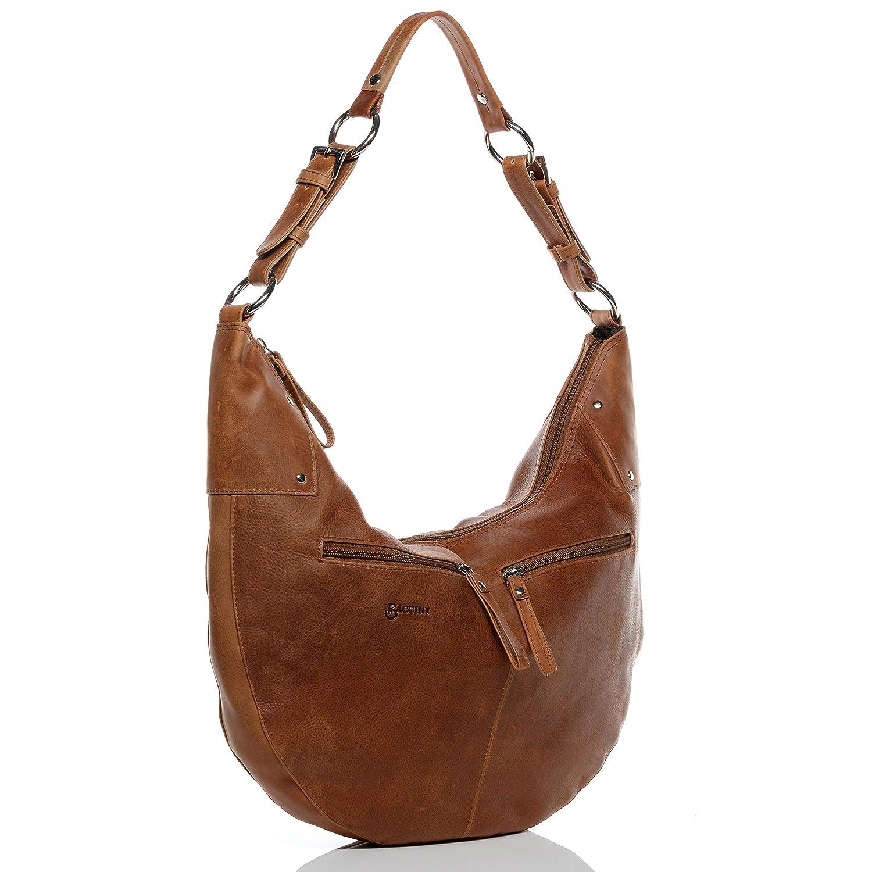 3ef56e743231a BACCINI Beuteltasche Leder Sienna Hobo Bag Damen Schultertasche echte  Ledertasche Damentasche braun  Amazon.de  Koffer
