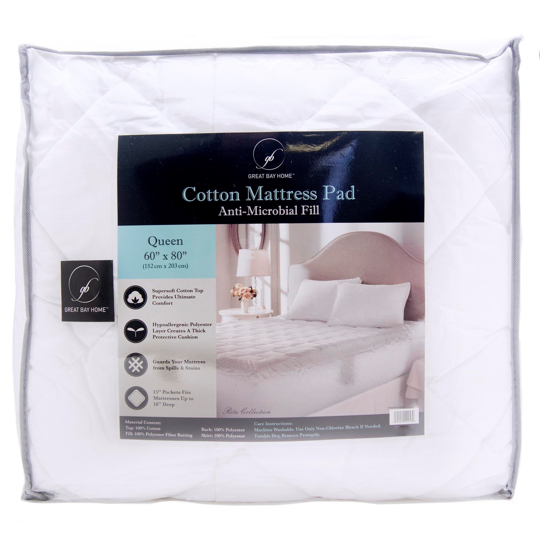 Great Bay Home Ultra-Soft Cotton Quilted Mattress Pad. Comfortable. Stretches up to 18 Inches Deep. By Brand. (King, White)