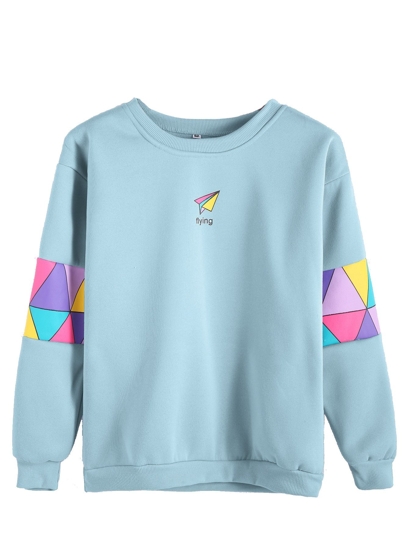 ROMWE Women's Top Long Sleeve Color Block Paper Airplane Graphic Print Patchwork Trim Tee Shirt Sweatshirt,Blue,L=US S
