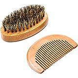 Wooden Beard Brush Comb,Luxebell Handmade Boar Bristle Beard Care Kit with Small Bag for Men's Beard Grooming