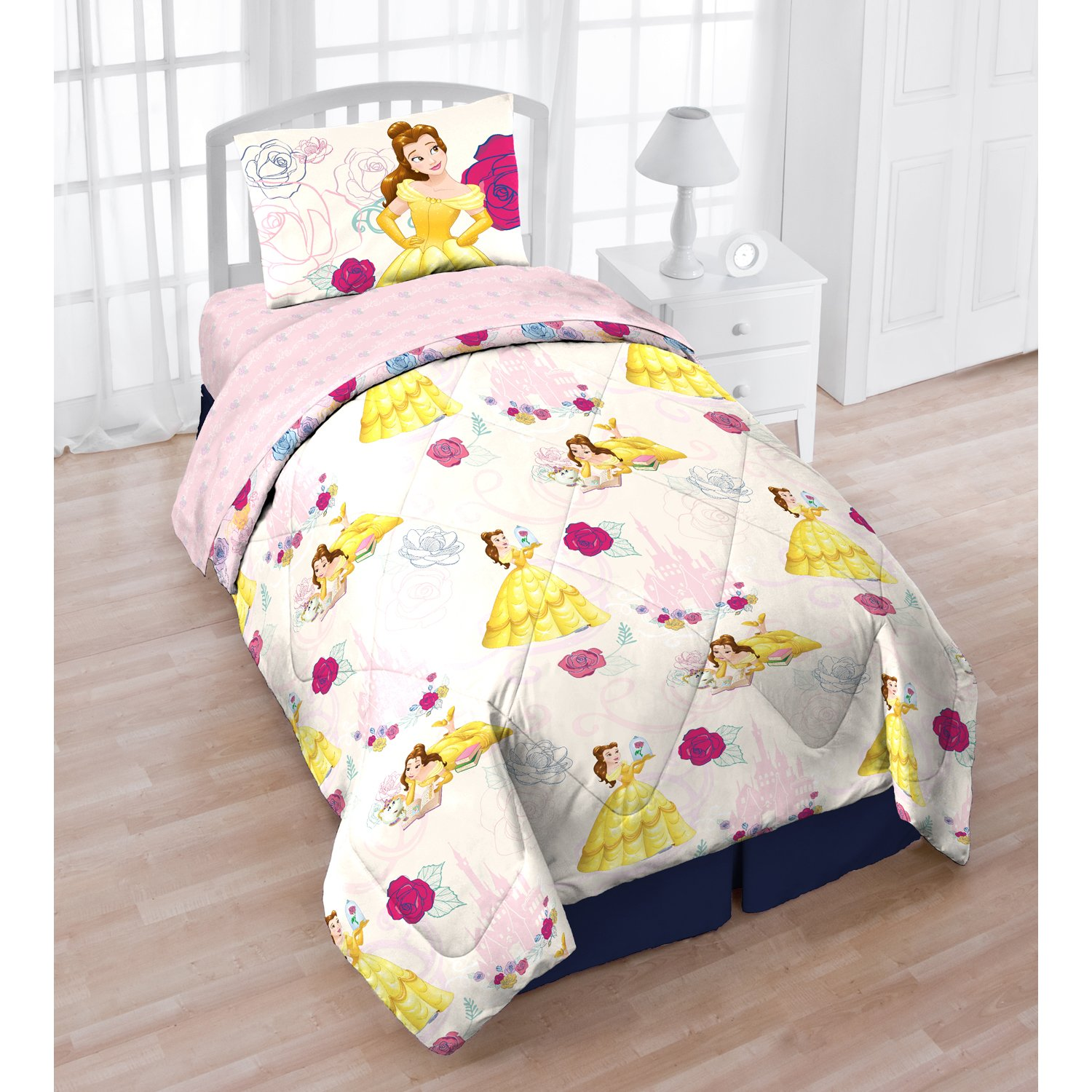 5 Piece White Pink Rose Kids Disneys Beauty and the Beast Comforter Twin Set, Girls Princess Belle Bedding Yellow Dress Roses Girly Fairy Tale, Polyester
