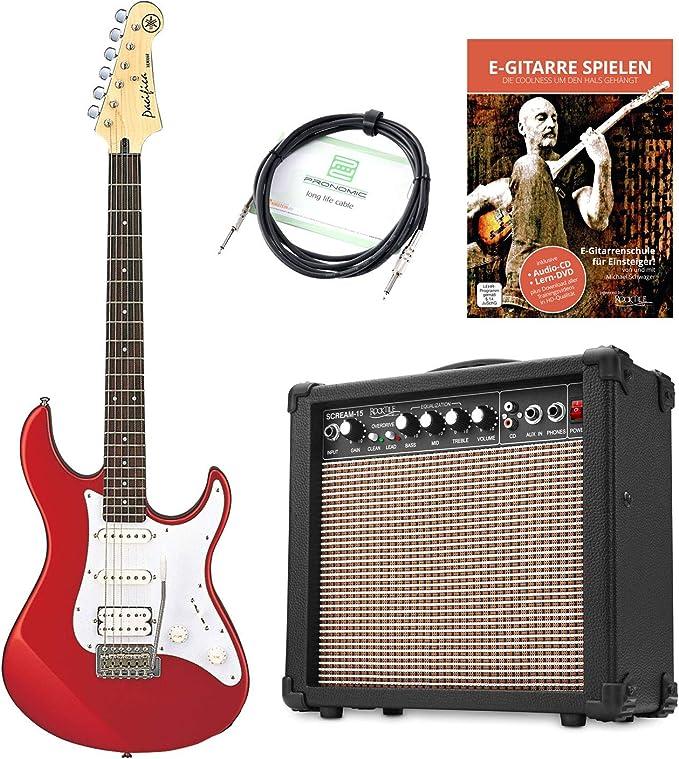 Yamaha Pacifica 012 RM – Guitarra eléctrica (Incluye amplificador de 15 W Combo y cable), color rojo: Amazon.es: Instrumentos musicales