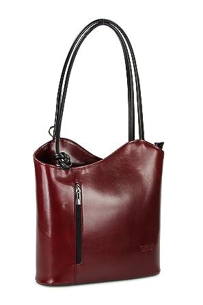 Ital. Leder Handtasche cognac braun schwarz, auch auf dem Rücken tragbar - 28x28x8 cm (B x H x T) Belli