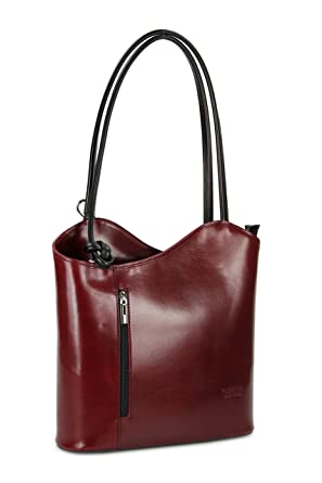 bb42838a4c123 Belli ital. Leder Handtasche Backpack Damen Rucksack aus feinstem Leder in  bordeaux schwarz - 28x28x8