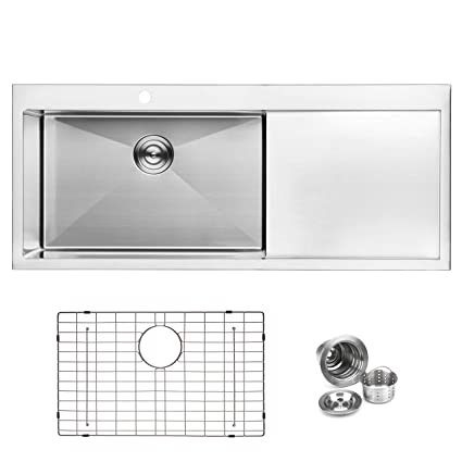 Bai 1233 48 Handmade Stainless Steel Kitchen Sink Single Bowl With
