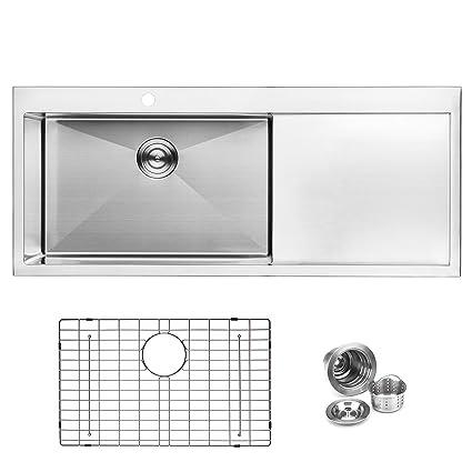 bai 1233 48 handmade stainless steel kitchen sink single bowl with rh amazon com 48 Single Sink Vanity 48 Single Sink Vanity