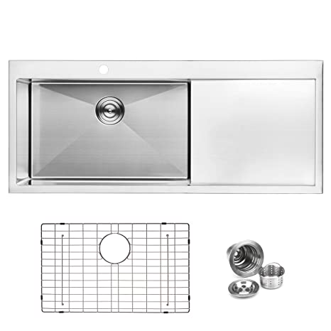 Peachy Bai 1233 Stainless Steel 16 Gauge Kitchen Sink Handmade 48 Inch Top Mount Single Bowl With Drainboard Home Interior And Landscaping Palasignezvosmurscom