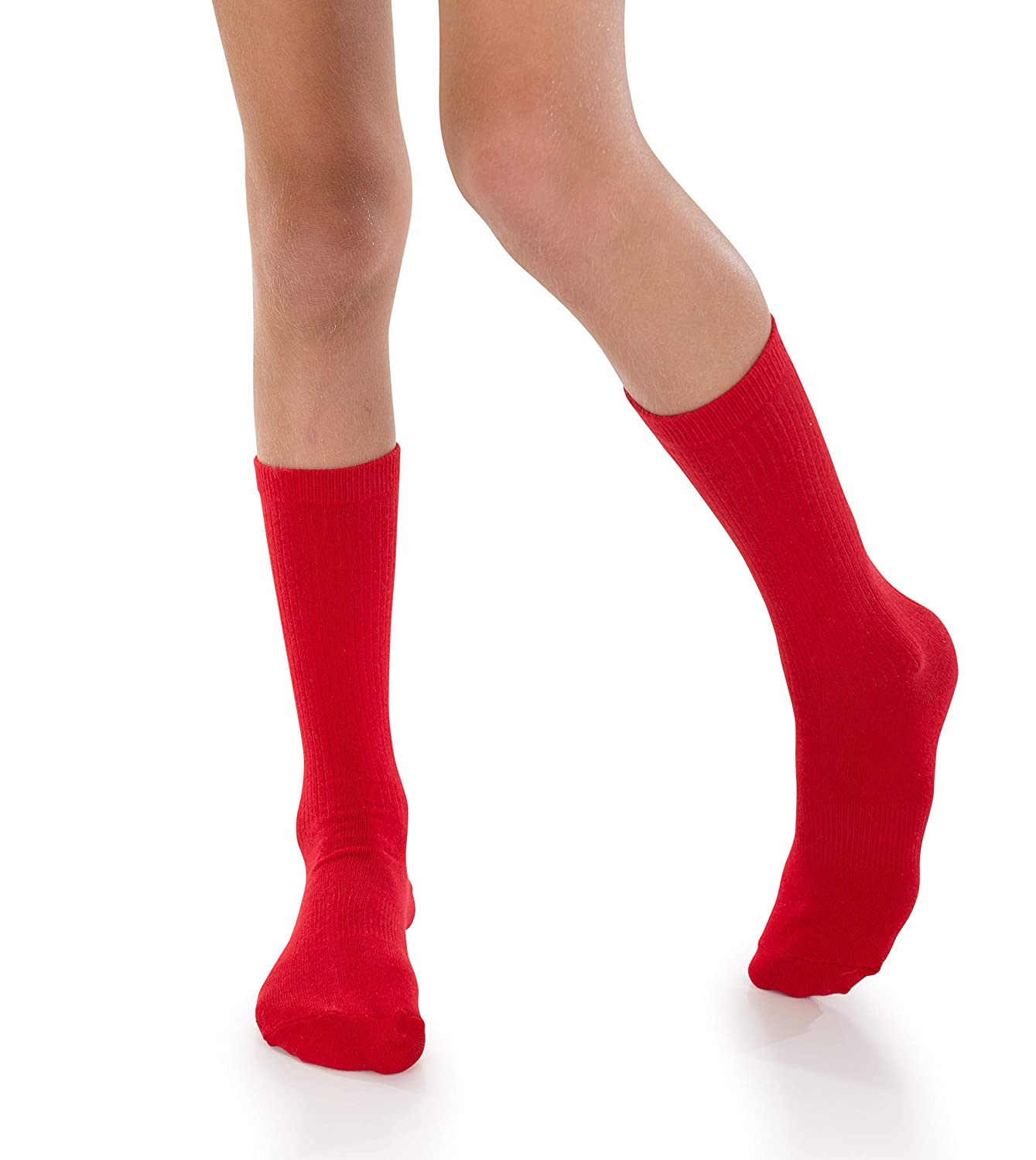 Soccer Sports 4 Pack of Mid-Calf Ribbed Socks with Anti-Slip Grips for School Uniform AFO