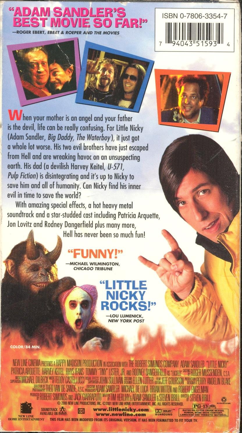 Amazon.com: Little Nicky [VHS]: Adam Sandler, Patricia Arquette, Harvey  Keitel, Rhys Ifans, Tommy 'Tiny' Lister, Rodney Dangerfield, Allen Covert,  ...