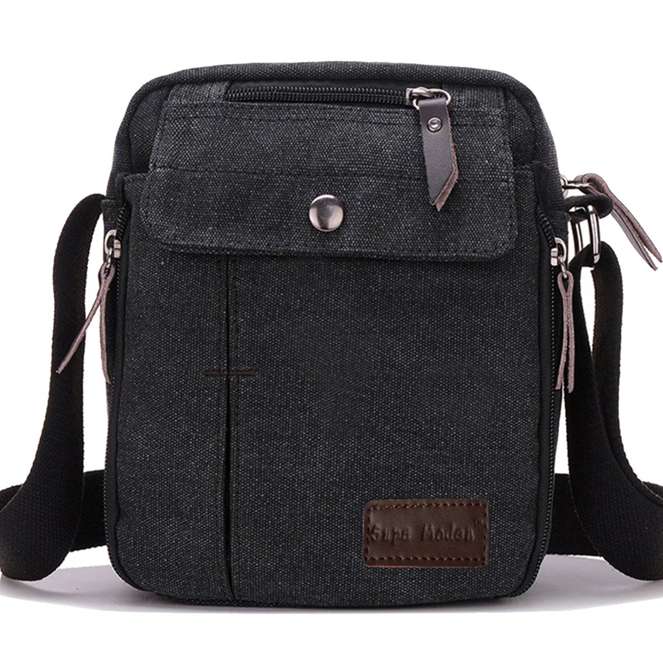 37fdfeb82ecd SUPA MODERN® Men Small Vintage Canvas Messenger Bag Cross body bag Pack  Organizer Satchel Bag Durable Multi-pocket Sling Shoulder Bag   Amazon.co.uk  Luggage