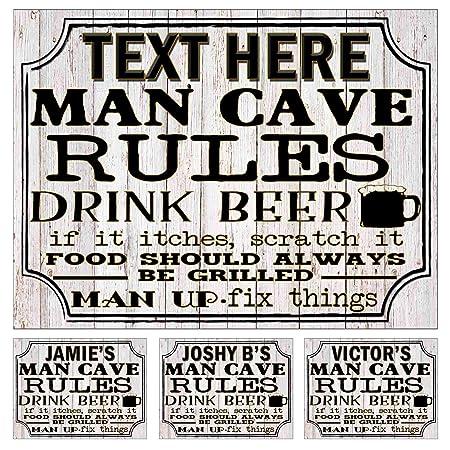 Cartel de Metal con Texto en inglés Man Cave Rules (180 ...