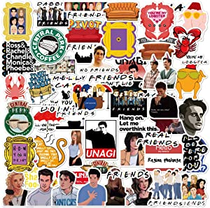 (54pcs) Friends TV Show Merchandise Fans Stickers for Laptop Water Bottle Snowboard Bicycle Skateboard Decal for Kids Teens Adult Waterproof Aesthetic Stickers