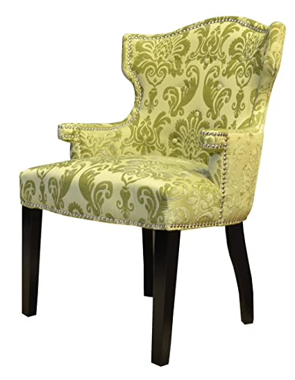 Beautiful HD Couture Brittania Fan Damask Chair, Chartreuse