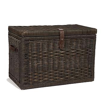The Basket Lady Wicker Storage Trunk | Wicker Storage Chest, Large, Antique  Walnut Brown
