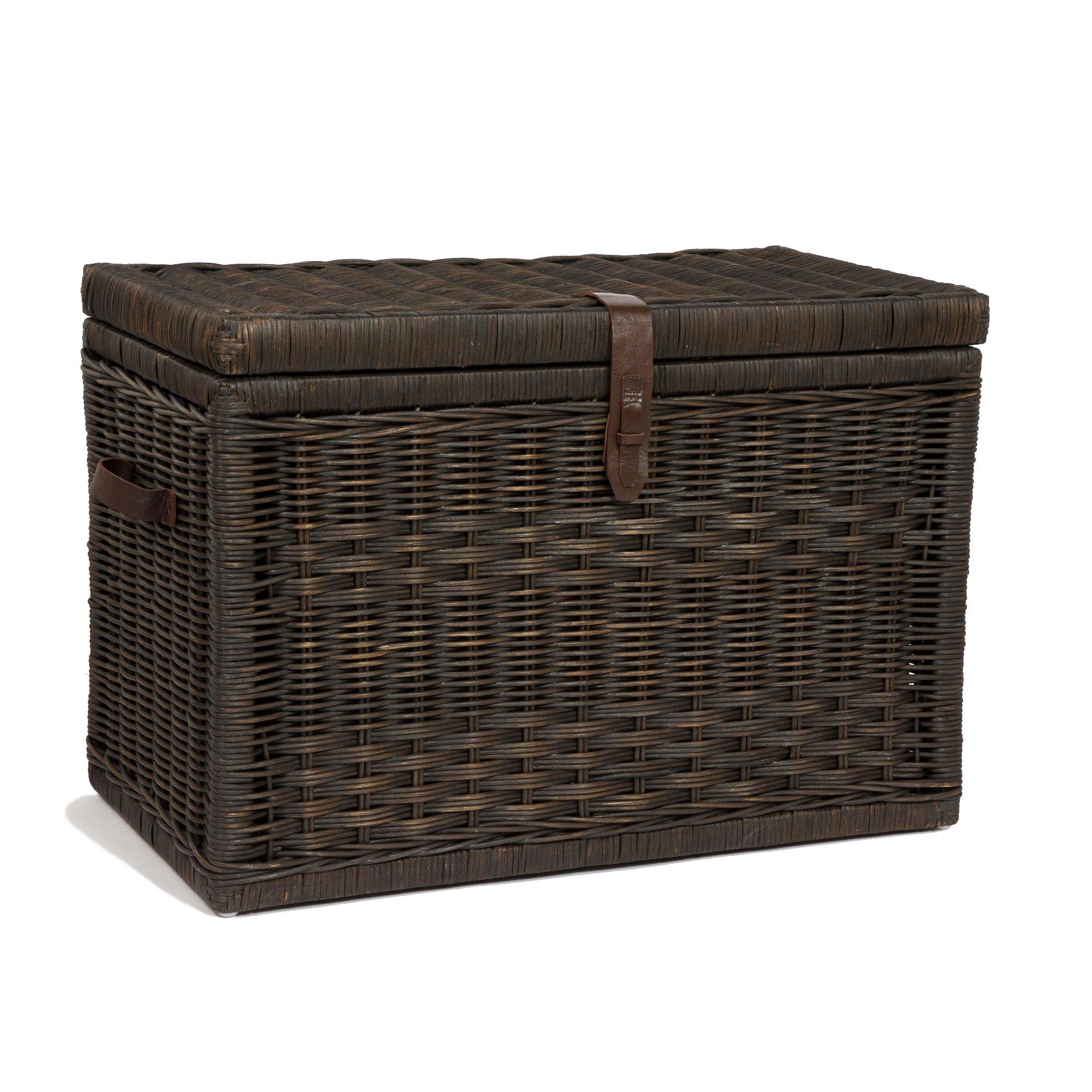 The Basket Lady Wicker Storage Trunk   Wicker Storage Chest, Large, Antique Walnut Brown