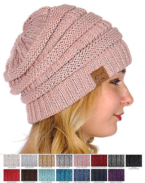 5f1b3792383ad C C CC Beanie Metallic Yarn Knit Beanie Hat (Black Black Metallic) at Amazon  Women s Clothing store