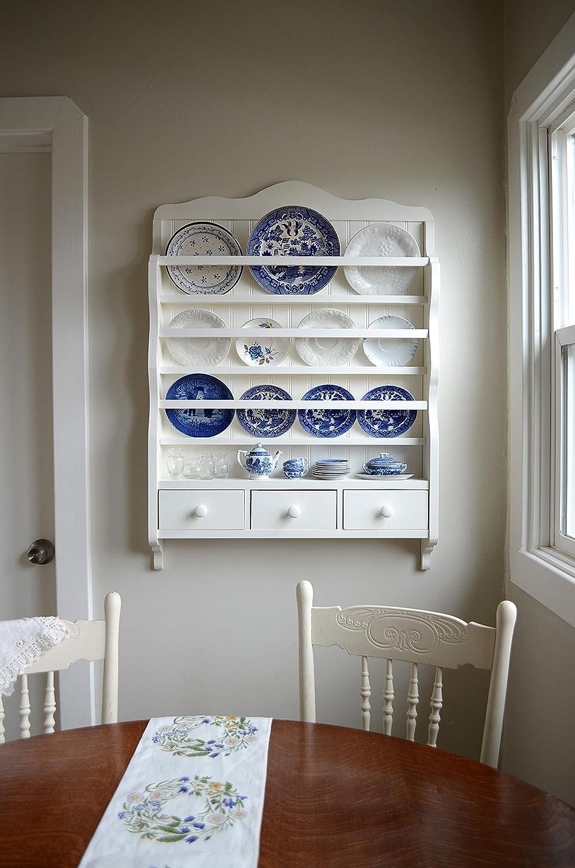 Amazon Com White Dish Rack Wall Plate Display Wooden Storage Unit Kitchen Organization Handmade