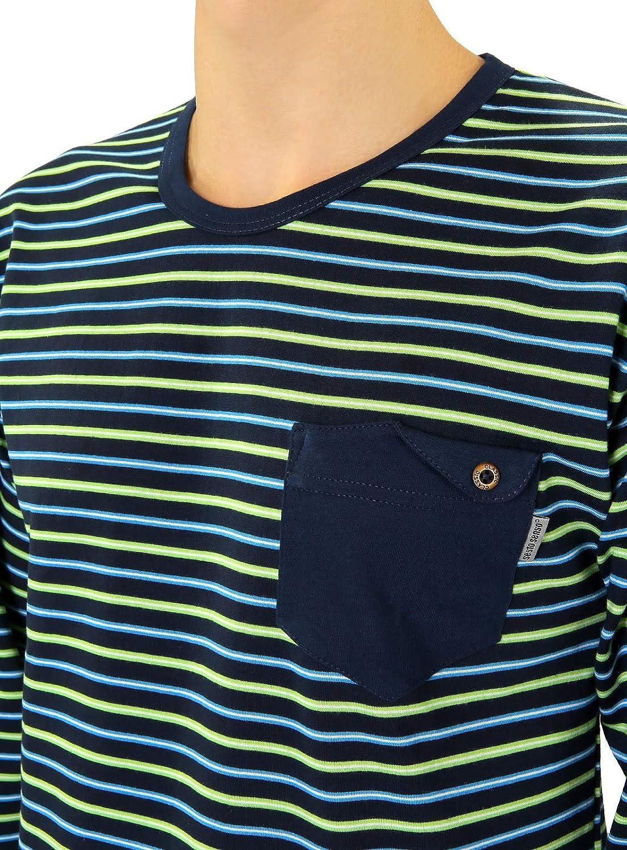 Sesto Senso/® Pyjama Herren Lang Schlafanz/üge 100/% Baumwolle Langarm und Langehose Zweiteiliger Set Nachtw/äsche