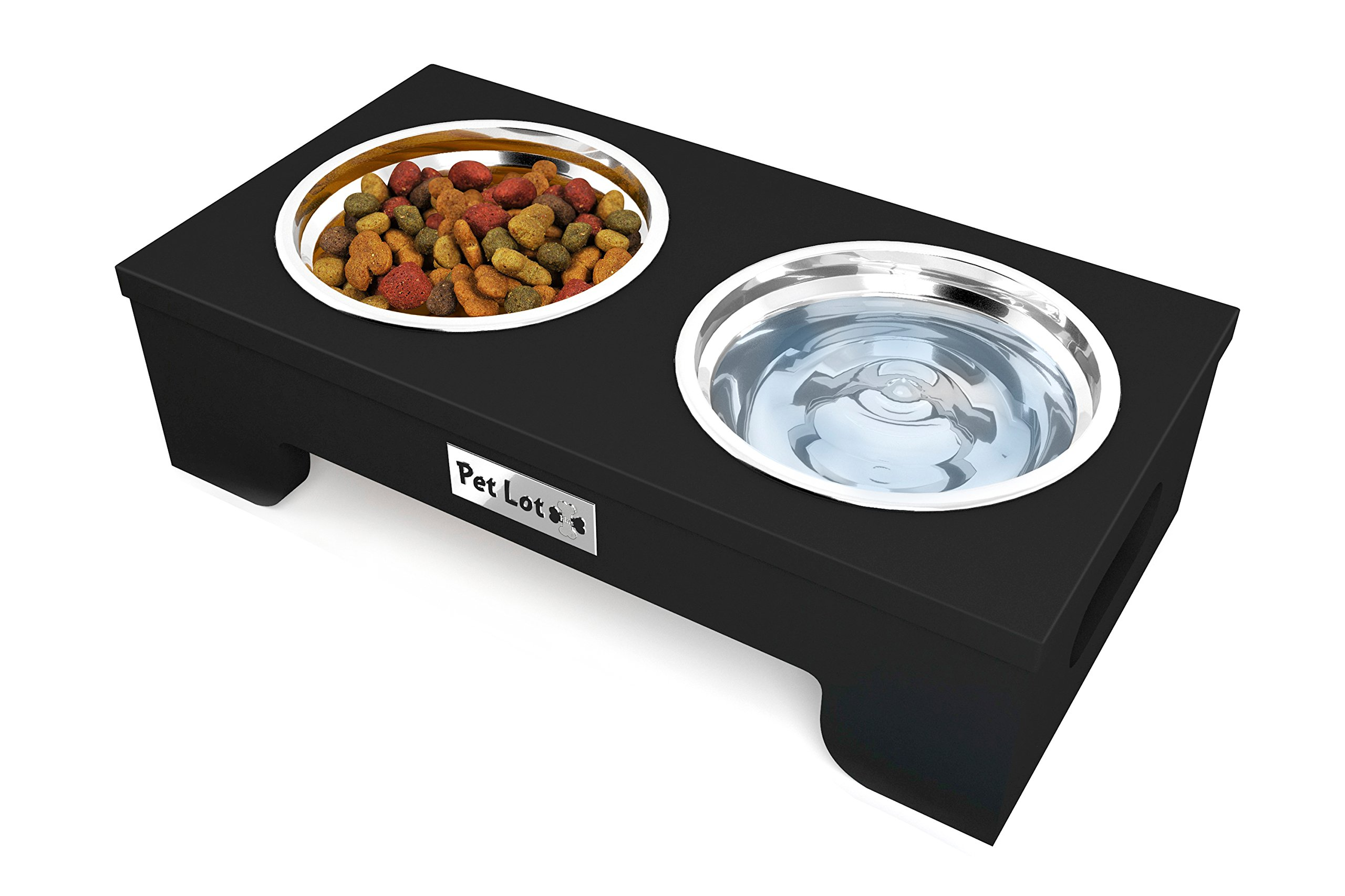 Raised Dog Bowls Stainless Steel | Elevated Dishes for Elderly and Healthy Pets |  Durable Stand for a Better Feeding Posture by Pet Lot Plus