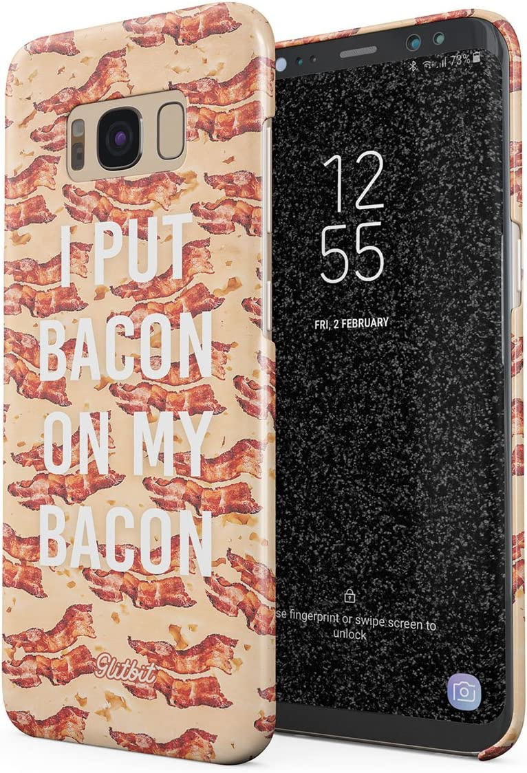 Glitbit Compatible with Samsung Galaxy S8 Plus Case Bacon Strips Print Fat Fast Junk Food Bacon Lover Addict Funny s About Bacon Love Thin Design Durable Hard Shell Plastic Protective Case Cover