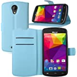 BLU Studio X8 HD case, KuGi ® BLU Studio X8 HD case - High quality ultra-thin MX style PU Cover + TPU Back Wallet stand Case For Studio X8 HD/S530 smartphone(Blue)