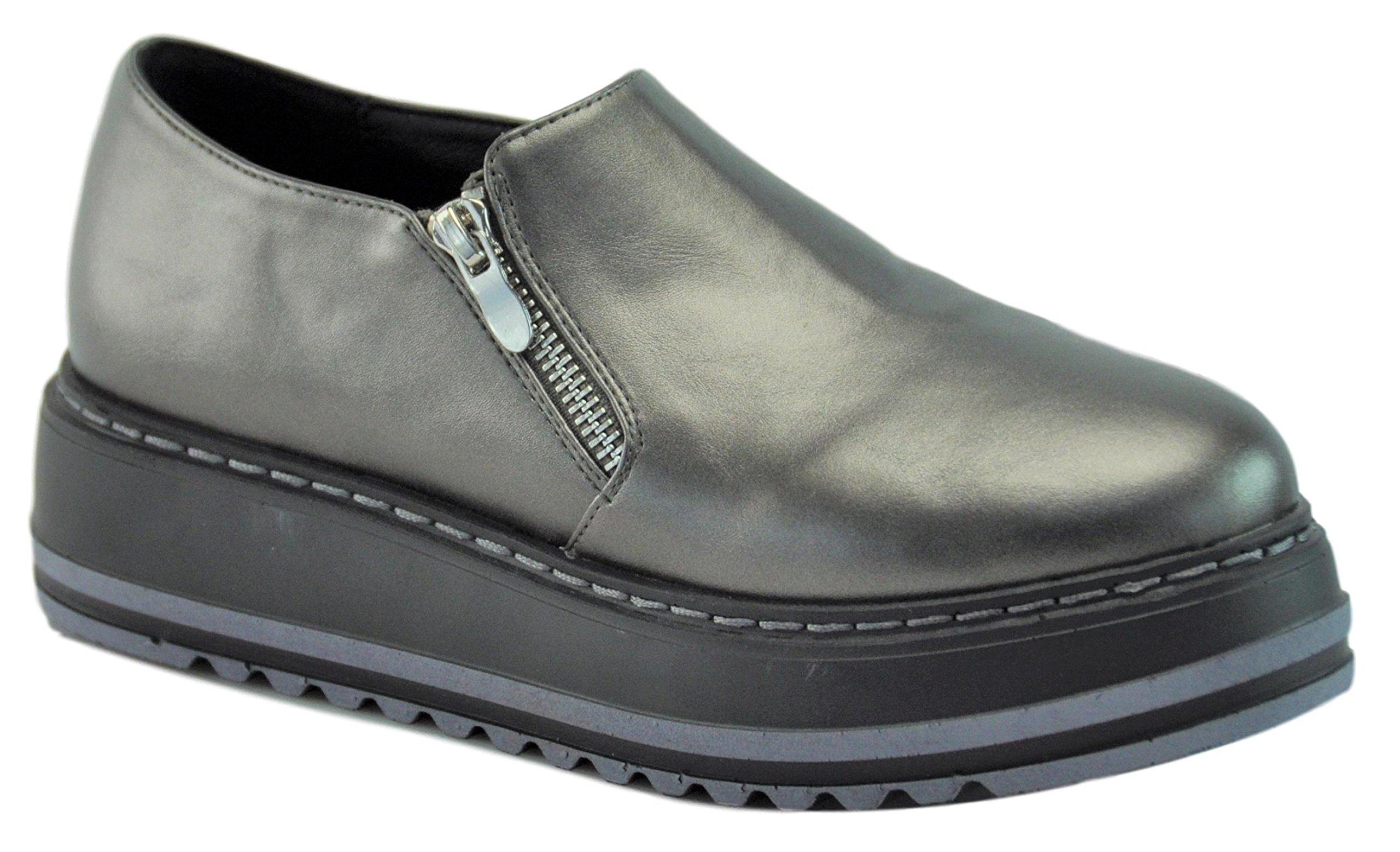 Lynda Top Selling Grey Faux Leather Zipper Flat Platform Wedge Creeper Heel Sexy Cool Fun Nice Mejores Zapatos Altas de Platforma Oxford Shoe for Women Teen Girl (Size 7, Grey)
