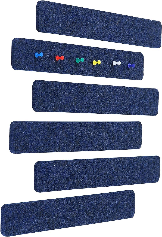Felt Bulletin Board Bar Strip, Self-Adhesive Felt Board Strip, No Frame Wall Decorative Bulletin Board with 20 Pieces Push Pins for Office Classroom Home, 6 Navy Blue Bars