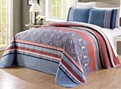 Grand Linen Prewashed Quilt Set With Reversible Bedspread Coverlet