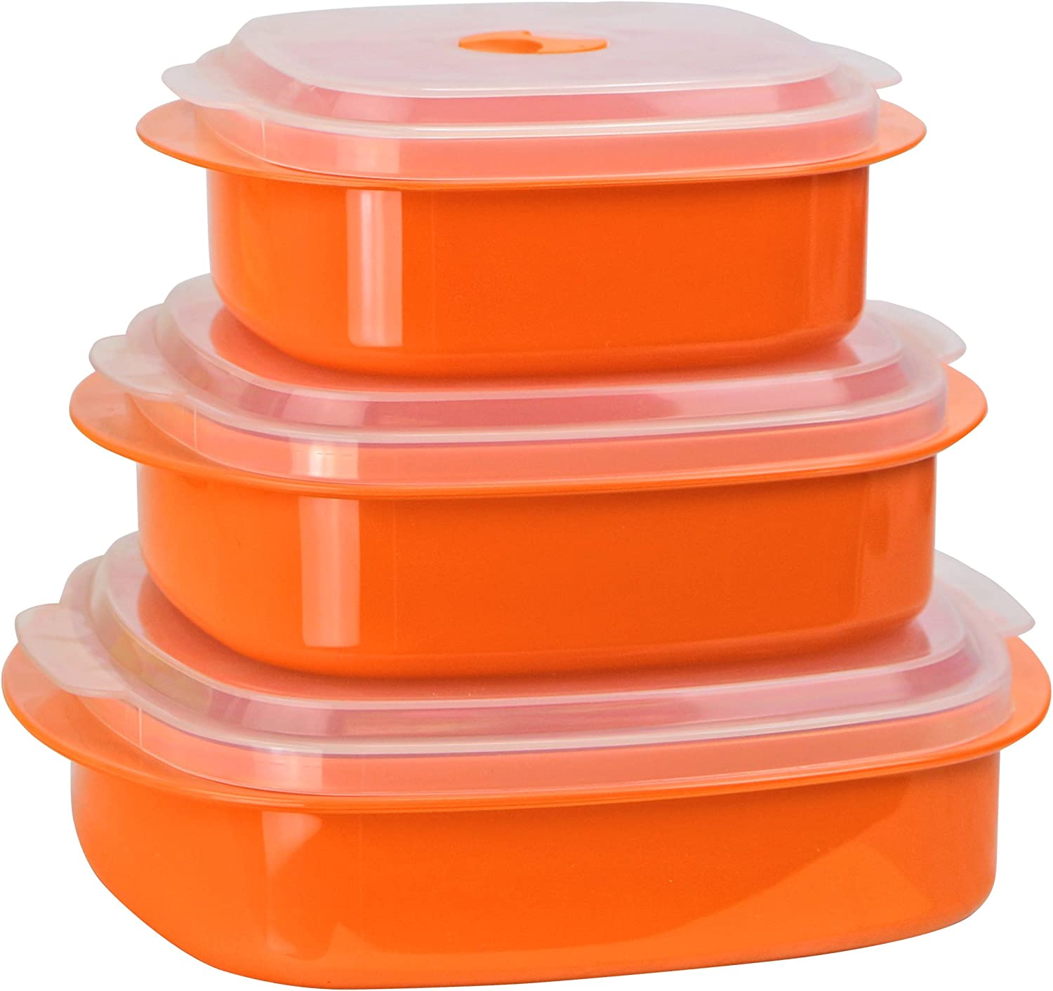 Calypso Basics by Reston Lloyd 6-Piece Microwave Cookware, Steamer and Storage Set, Orange